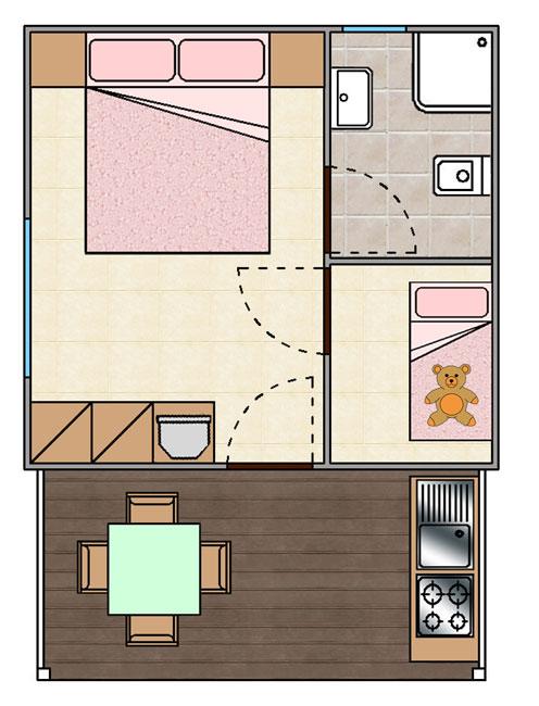 Camera Matrimoniale 14 Mq.Cottage Bilocali Rimini Cottage Monolocali Cesenatico Villaggio